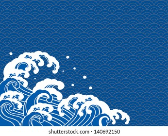 The illustration of the wave of a Japanese print