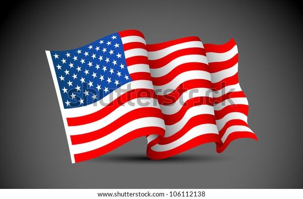 illustration of waving American Flag on dark background