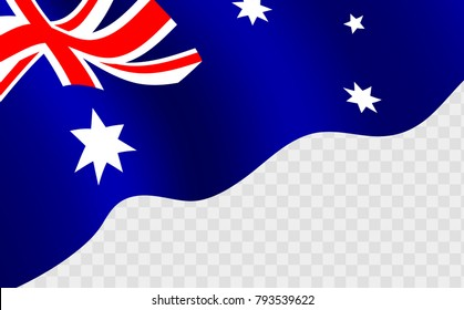 Illustration of a waving Australian flag against transparent background. Happy Australia day 26 january festive background with flag. Template design layout for card, banner, poster, flyer, card