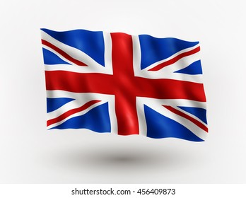Illustration of waving flag of Great Britain, isolated flag icon, EPS 10 contains transparency.