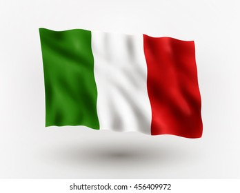 Illustration of waving flag of Italy, isolated flag icon, EPS 10 contains transparency.