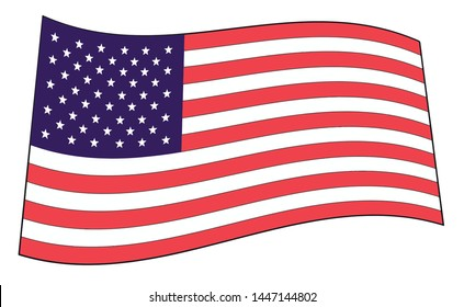 Illustration of a waving flag of the United States of America,graphic vector illustration for fabric,paper,wrap,t-shirt,textile, poster, card, wallpaper