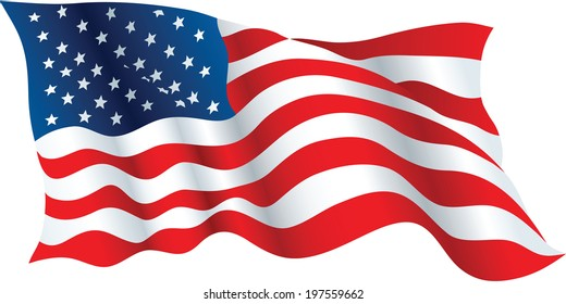 Illustration of a waving flag of the United States of America.