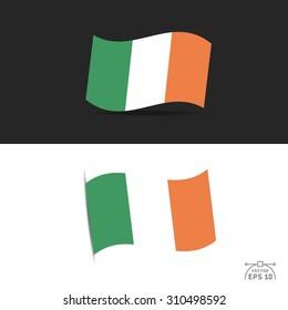illustration of waving Ireland Flag on black and white  background.
