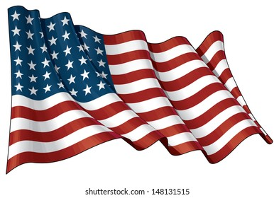 Illustration of a waving US 48 star flag of the period 1912-1959. This design was used by the US in both World Wars and the Korean war.
