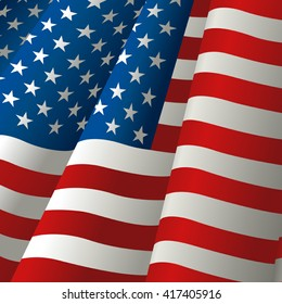 Illustration of waving USA flag