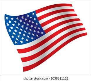 Illustration of waving USA flag, isolated flag icon, EPS 10 contains.