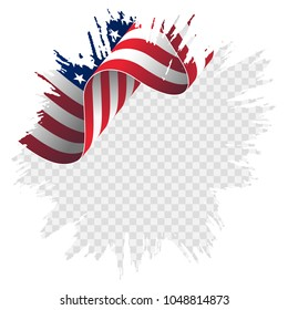 illustration wavy American Flag for Independence Day brush stroke background. American flag on transparent background vector illustration.
