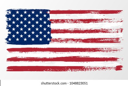illustration wavy American Flag for Independence Day brush stroke background.American flag on transparent background vector illustration.