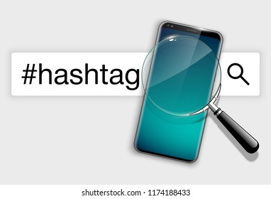 illustration web search by hashtag on mobile phone isolated on white background. Banner with smartphone search engine browser by hashtag