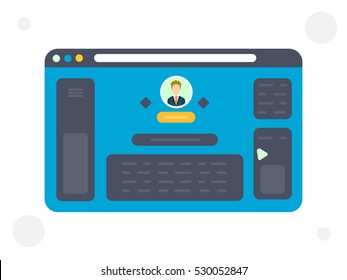 Illustration of the web site template with person icon, social network page on white background. Vector image