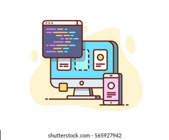 illustration of website development and mobile phone in flat style