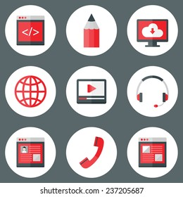 Illustration of Website White and Red Icons Set