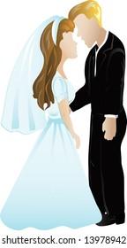 Illustration of a wedding couple icon or symbol