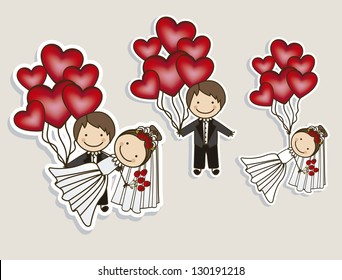 Illustration of Wedding Icons and Concepts Wedding, vector illustration