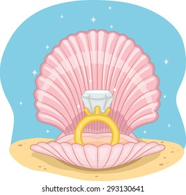 Illustration of a Wedding Ring Sitting in the Middle of an Open Shell