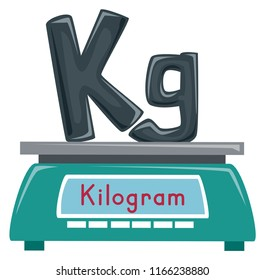 Illustration of a Weighing Scale with Kilogram and Kg Lettering