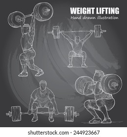 Illustration of Weight Lifting. Hand drawn. chalkboard. vector.
