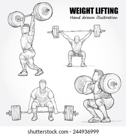 Illustration of Weight Lifting. Hand drawn.