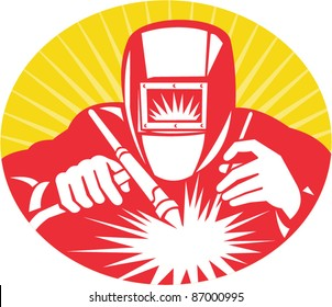 illustration of a welder welding holding up welding equipment facing front done in retro woodcut style.