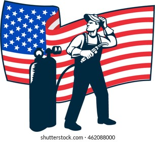 Illustration of welder worker standing with visor up looking to the side holding welding torch with tank viewed from front set inside circle with usa american stars and stripes flag  done retro style