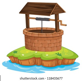illustration of a well and water on a white background