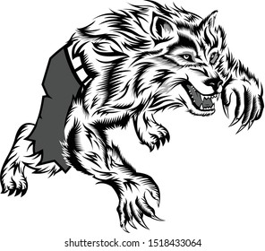 illustration of a werewolf vector template
