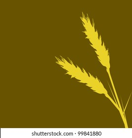illustration with wheat silhouettes isolated on brown background