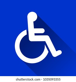 Illustration of wheelchair icon with long shadow