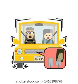Illustration where an elderly couple riding a car is braking suddenly