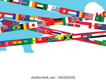 Illustration where the world flag flies in the blue sky