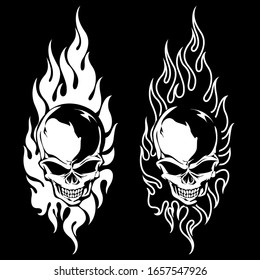 The illustration which combined a flame with the skull,