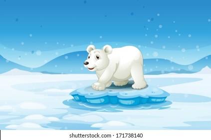 Illustration of a white bear standing above the iceberg