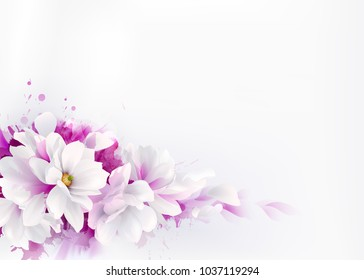 Illustration of white beautiful Magnolias, Spring elegant flowers depicted on the watercolor background.