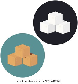 Illustration of white and brown sugar cubes. Vector icon.