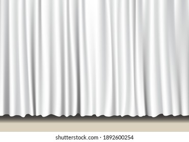 Illustration of a white curtain and a stage. Vector illustration.