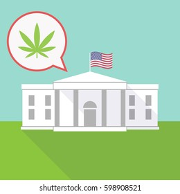 Illustration of the White House with a balloon and a marijuana leaf