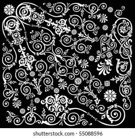 illustration with white on black background