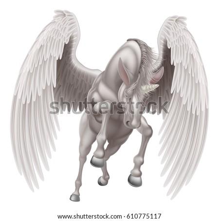 Illustration White Pegasus Unicorn Mythological Winged Stock Vector