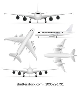 Illustration of white plane shown from different sides in set isolated on white.