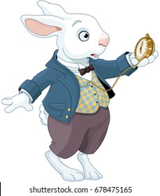 Illustration of white rabbit holds watch