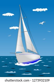 Illustration of a white sailboat, which is sailing in the sea.