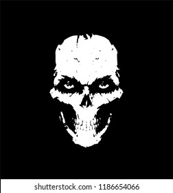 Illustration of a white skull on a black background. Vector. Skull for tattoos. Illustration for a scarf. Silhouette drawing. The face of death. Mask. Scary skull with eyes. A look from the underworld