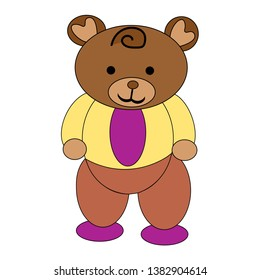 illustration of white Teddy bear background in brown pants yellow shirt lilac t-shirt and boots t-shirt socks polka dots vector graphics