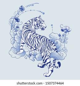 illustration white tiger design in tattoo  blue Porcelain for print elements vector with light blue ceramic color background