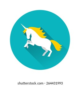 Illustration of white unicorn with yellow mane with long shadow on blue background.