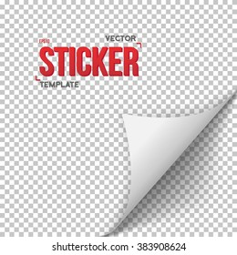 Illustration of White Vector Paper Sticker. Bended Page Sticker Vector EPS10 Template. Office Equipment Paper Bookmark Curl Sticker