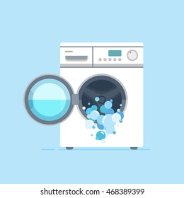 illustration of white washing machine with a front loading. Blue background, isolated.