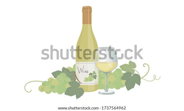 白ワインとブドウのイラスト