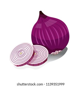 Illustration of a whole shallot and two shallot slices